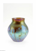Art Glass:Loetz, An Austrian Iridescent Glass Vase Loetz, c.1900 The bulbous vase ina green/gold ground with a magenta rim decorated in ...