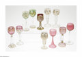 Art Glass:Other , Eleven Hock Goblets Various Makers, Mid-Nineteenth CenturyComprising five clear to cranberry goblets each decorated wit...(11 Items)