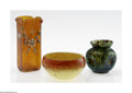 Art Glass:Schneider, Two Continental Art Glass Vases and a bowl Schneider, Loetz, c.1900The first, a Schneider bulbous bowl in mottled yello... (3 Items)