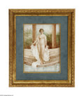 Ceramics & Porcelain, A French Porcelain Plaque. Limoge, c.1890. The rectangular hand-painted plaque of a female nude with gauzy fabric entering... (Total: 1 Item Item)
