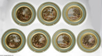 Seven Continental Porcelain Plates Langewiesen Factory, c.1895  The set all with a pale green rim and gilt bands, gilt d...