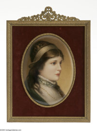 A German Porcelain Plaque Franz Xaver Thallmaier, c.1890  The oval convex porcelain hand-painted plaque of a female port...