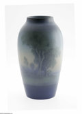 Ceramics & Porcelain, American:Modern  (1900 1949)  , An American Art Pottery Vase Rookwood Pottery, c.1919 The ovoidform scenic vase in a ground of blue, green, peach and c...