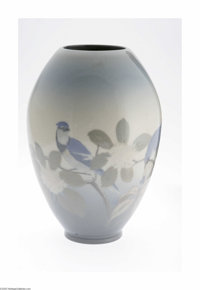 An American Art Pottery Vase Rookwood Pottery, c.1914  The ovoid form vase in a ground of blue to ivory to blue decorate...