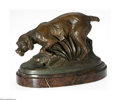 Decorative Arts, Continental:Other , A French Bronze Dog Sculpture Louis Carvin, c.1910 The oval marbleplatform supports a bronze sculpture of a French hunt...