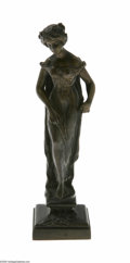 Decorative Arts, Continental:Other , A Continental Bronze Female Statue Ruff, c.1890 The square plinthsupports a classical Art Nouveau female, engraved to t...