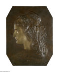 Decorative Arts, Continental:Other , A French Bronze Plaque Adam-Salomon, c.1848 The bronze plaque witha raised portrait of a female with a bonnet, signed t...