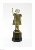 Decorative Arts, Continental:Other , A German Bronze Figurine Ferdinand Preiss, c.1910 The octagonalplinth supports a gilt washed bronze of a young girl, he...