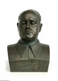 Decorative Arts, Continental:Other , Continental Bronze Bust Benito Mossolini Italy, c.1930 Thepatinated bronze larger than life size bust of Benito Mossoli... (1)