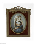 Decorative Arts, Continental:Other , A Continental Portrait on Ivory Berté, Nineteenth Century The ovalportrait on ivory of a woman in Nineteenth Century dr...