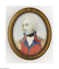 Decorative Arts, British:Other , An English Miniature Portrait on Ivory Maker unknown, EighteenthCentury The oval miniature depicts an English officer, ...