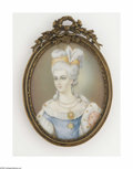 Decorative Arts, Continental:Other , An English Portrait on Celluloid Maker unknown, Nineteenth CenturyThe oval portrait of a female in eighteenth century s...