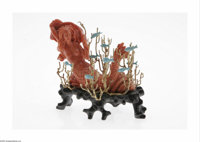 An American Coral Mermaid Balogh, Twentieth century  The wooden platform supports a coral mermaid resting among fourteen...