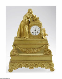 A Figural Mantel ClockFrench, c. 1830  The heavy fire gilt gold over bronze figural clock with a woman adorned in period...