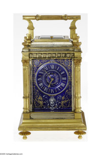 An American Bronze D'Ore and Enamel Carriage Clock Mark of Tiffany & Co., c.1890  This masterpiece Grande Sonnerie c...