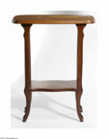 Decorative Arts, French:Other , French Marquetry Table Galle, c. 1900, The two-tier fruitwood tablewith lozenge-shaped top inlaid in various woods to d...