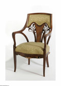 Decorative Arts, French:Other , An Upholstered Marquetry Art Nouveau Armchair Emile Galle,attributed to. c. 1900 The mahogany, upholstered, scalloped ...