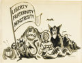 Illustration:Magazine, LEE LORENZ (American b.1933) . Liberty, Fraternity,Monstrosity, original magazine cartoon illustration . Ink andwash o...