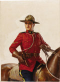 Illustration:Magazine, SVERRE GREBLIF (20th Century) . Royal Mounted CanadianOfficer,1936, original illustration . Oil on canvas . 27-1/2 x21... (Total: 1 Item)