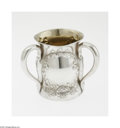 Silver Holloware, American:Loving Cup, An American Silver Loving Cup Maker unknown, c.1900 The repoussebaluster form three-handle loving cup with a gilt inter...