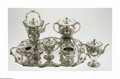 Silver Holloware, American:Tea Sets, An American Silver Tea Service Mark of Mauser Manufacturing Co.,New York, NY, Late Nineteenth Century The set in the 'H... (12Items)