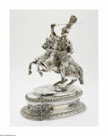 Silver Holloware, American:Other , An American Silver Knight and Horse Maker unknown, TwentiethCentury The oval plinth highly decorated with leaves, flowe...