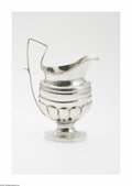 Silver Holloware, American:Creamers and Sugars, An American Silver Creamer Mark of G. Lenhart, Bowling Green, KY,c.1845 The oval foot supports a lobed body with thread...