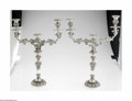 Silver Holloware, British:Holloware, A Pair of English Silverplate Candlesticks Mark of Elkington,England, c.1850 The matching pair of high relief two-arm, ... (6Items)