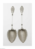 Silver Flatware, British:Flatware, Two English Silverplate Serving Spoons Mark of James Dixon &Sons, Sheffield, England, c.1870 The matching spoons, each ... (2Items)