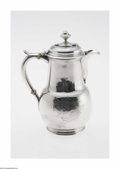 Silver Holloware, British:Holloware, An English Silver Chocolate Pot Mark of Ed Feline, London, England,c.1739 The bulbous lower body of the pot engraved wi...