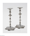 Silver Holloware, British:Holloware, A Pair Of English Silver 'George III' Candlesticks Mark of EbenezerCoker, London, England, c.1763 & 1770 The matching c... (2Items)