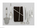 Silver Flatware, Continental:Flatware, Seven Danish Silver Items and Stir Set Marks of Georg Jensen,Copenhagen, Denmark; and John Hasselbring, Brooklyn, NY, c.19... (8Items)