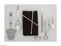 Seven Danish Silver Items and Stir Set Marks of Georg Jensen, Copenhagen, Denmark; and John Hasselbring, Brooklyn, NY, c...