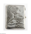 Silver Smalls:Cigarette Cases, A Latvian Silver Repousse Cigarette Case Maker unknown, c.1880 Thecase with a repoussé eagle on a branch, a cabochon-cu...