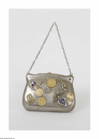 A Russian Silver Evening Bag Vasili S. Semenov, c.1910  The small silver bag embellished with gold coins, and various na...