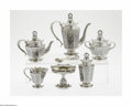Silver & Vertu:Hollowware, A Russian Silver Tea Service. Mark of Antip Ivanovich Kuzmichev, Moscow, Russia, c.1900. The set includes a coffee pot, te... (Total: 10 Items Item)