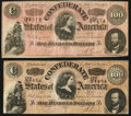 Confederate Notes:1864 Issues, T65 $100 1864 PF-1 Cr. 491 Two Examples.. ... (Total: 2 notes)
