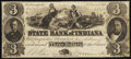 Obsoletes By State:Indiana, New Albany, IN- State Bank of Indiana, Branch Counterfeit $3 Feb. 1, 1851. ...