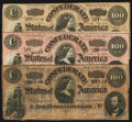 Confederate Notes, T65 $100 1864 Three Examples. . ... (Total: 3 notes)