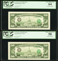 Error Notes:Third Printing on Reverse, Fr. 2124-G $50 1990 Federal Reserve Notes. Five Consecutive Examples. PCGS Graded.. ... (Total: 5 notes)