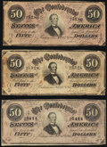 Confederate Notes:1864 Issues, T66 $50 1864 Three Examples.. ... (Total: 3 notes)