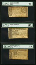 Colonial Notes:Maryland, Trio of Maryland April 10, 1774 Colonial Currency.. ... (Total: 3 notes)