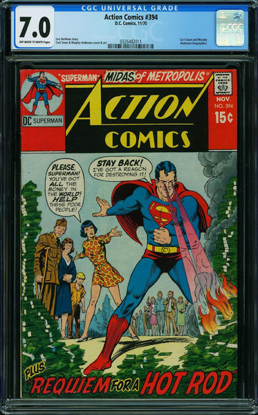 Action Comics #394 (DC, 1970) CGC FN/VF 7 0 OFF-WHITE TO WHITE pages
