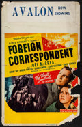 """Movie Posters:Hitchcock, Foreign Correspondent (United Artists, 1940). Window Card (14"""" X22""""). Hitchcock.. ..."""