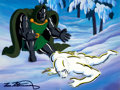 Animation Art:Production Cel, Fantastic Four Silver Surfer and Doctor Doom Production CelSetup with Painted Background and Animation Drawing (Marve...(Total: 3 Items)