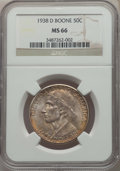 1938-D 50C Boone MS66 NGC. NGC Census: (122/34). PCGS Population: (195/83). CDN: $500 Whsle. Bid for problem-free NGC/PC...