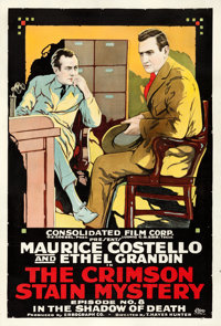 "The Crimson Stain Mystery (Consolidated, 1916). One Sheet (28"" X 41"") Chapter 8 -- ""In the Shadow of Deat..."