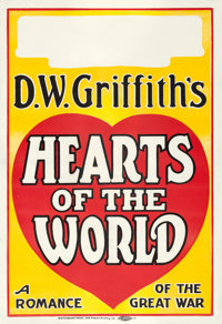 """Hearts of the World (Paramount, 1918). Locally Produced One Sheet (28"""" X 41"""")"""