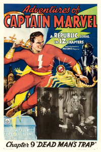"Adventures of Captain Marvel (Republic, 1941). One Sheet (27"" X 41"") Chapter 9 -- ""Dead Man's Trap.""..."