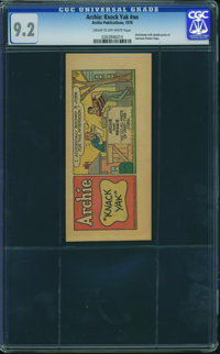 "Archie Comics Fairmont Potato Chips Giveaway - ""Knack Yak"" (Archie, 1970) CGC NM- 9.2 CREAM TO OFF-WHITE pages..."